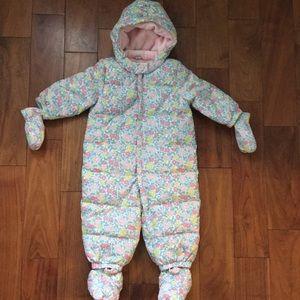 NWT baby gap warm down floral snowsuit 12-18 month